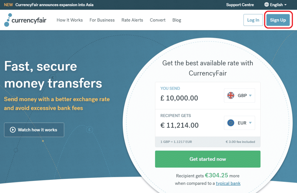 CurrencyFair - deschide cont
