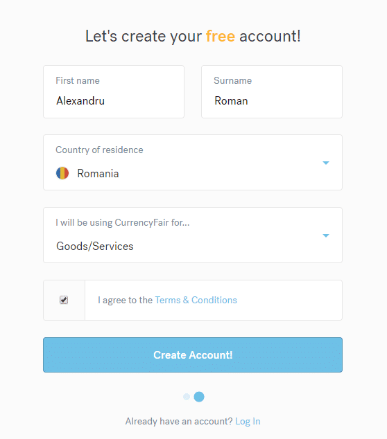 CurrencyFair - creeaza contul gratuit