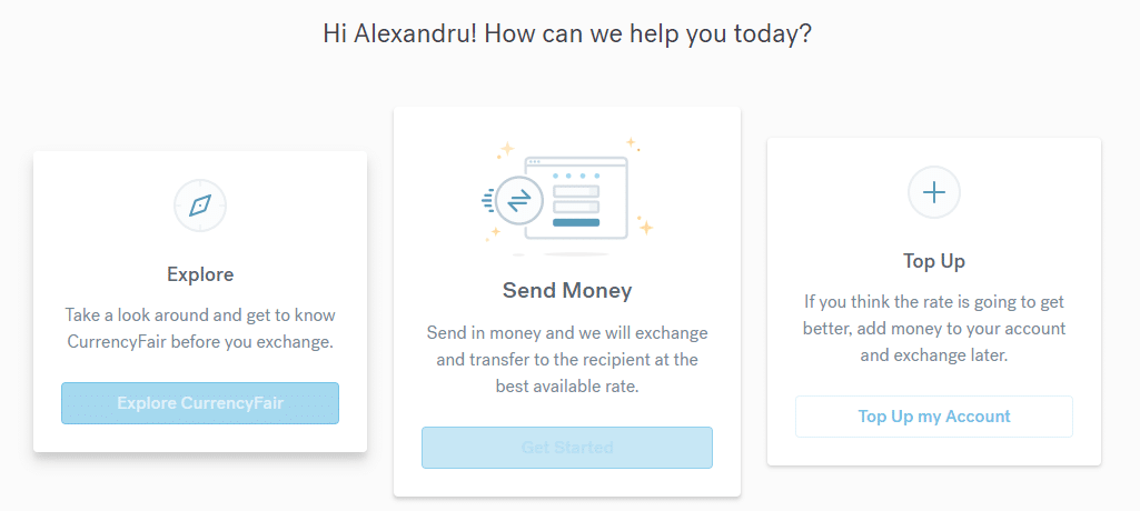 CurrencyFair - trimite bani