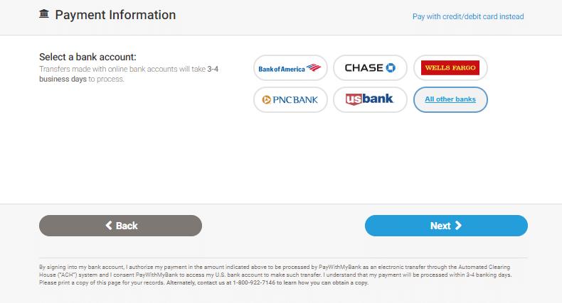 MoneyGram - selecteaza un cont bancar
