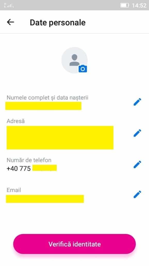 Revolut - introducerea datelor personale