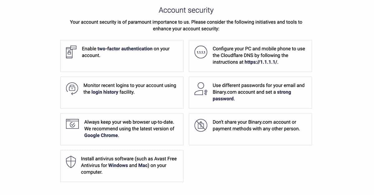 Binary.com - securitatea contului