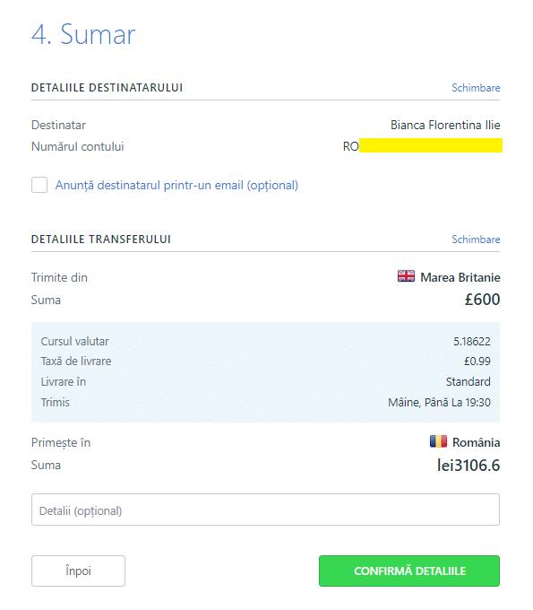 TransferGo - detaliile destinatarului