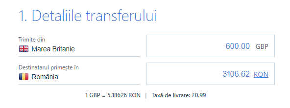 TransferGo - detaliile transferului