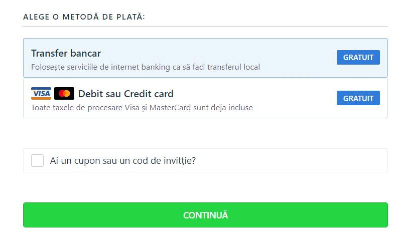 TransferGo - alege o metoda de plata