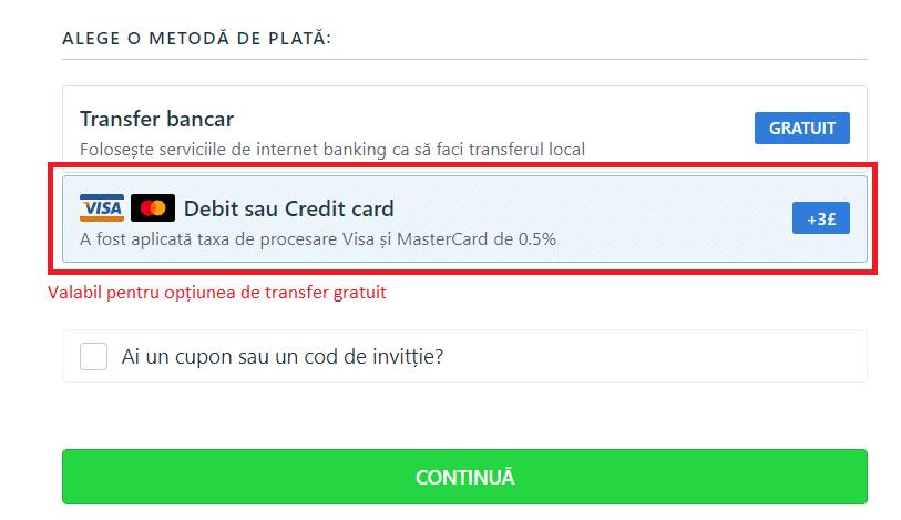 TransferGo - debit sau credit card
