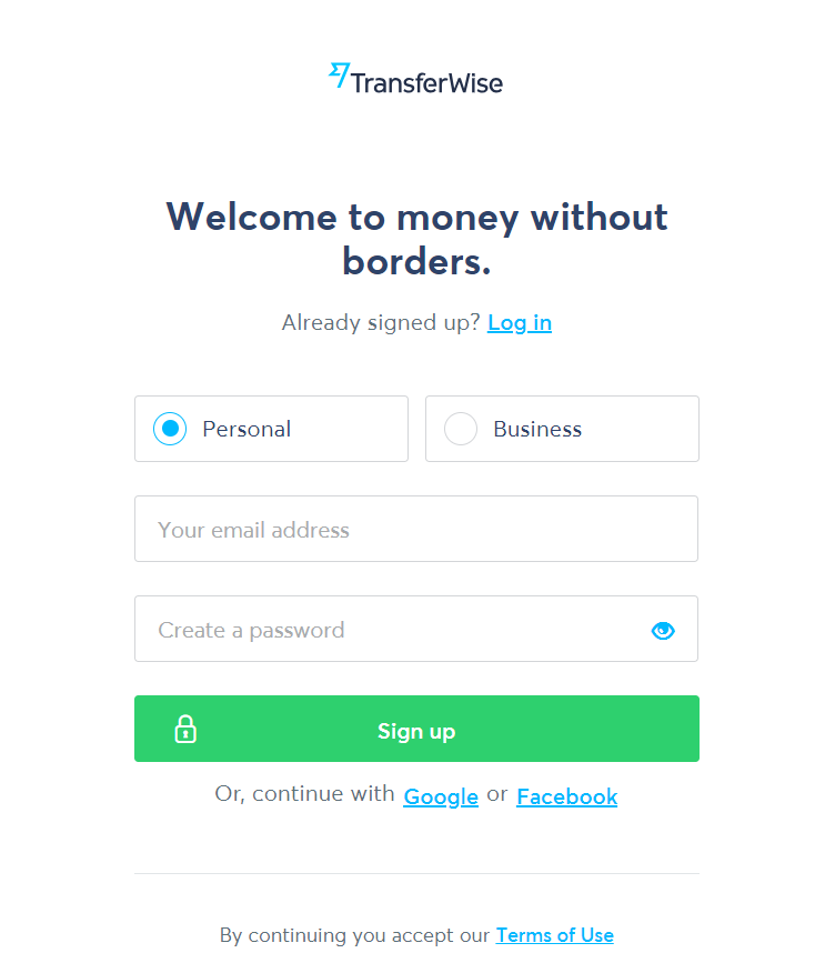 TransferWise - formular date personale