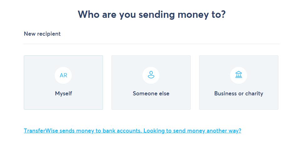 TransferWise - Cui trimiti bani