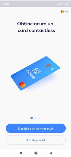 Monese - deschide cont gratuit si obtine cardul contactless