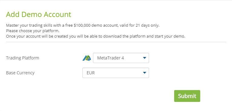AvaTrade - adauga contul demo