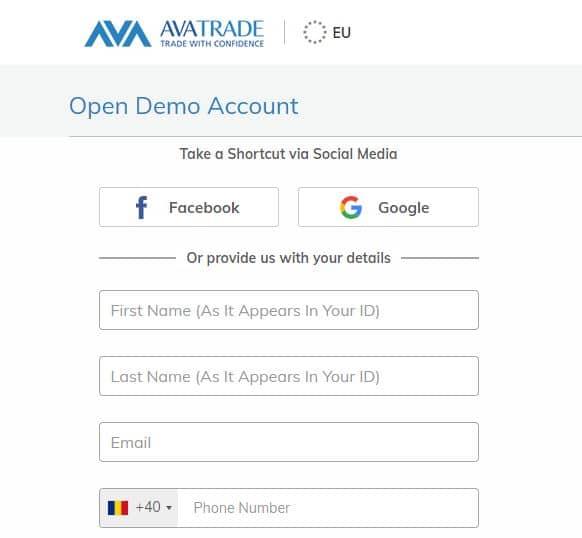 AvaTrade - deschiderea unui cont demo