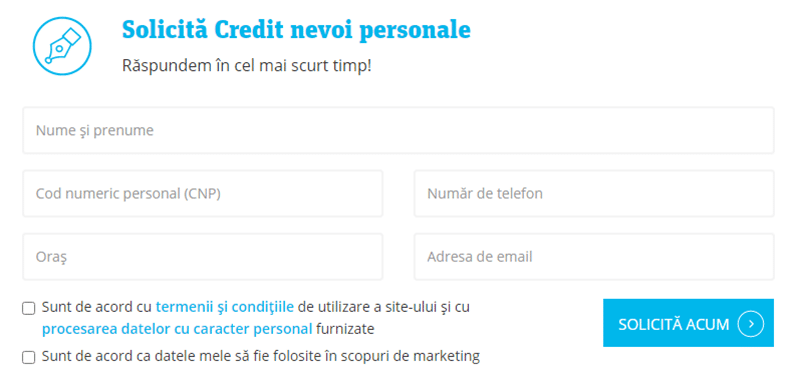 Idea Bank - formular de accesare credit