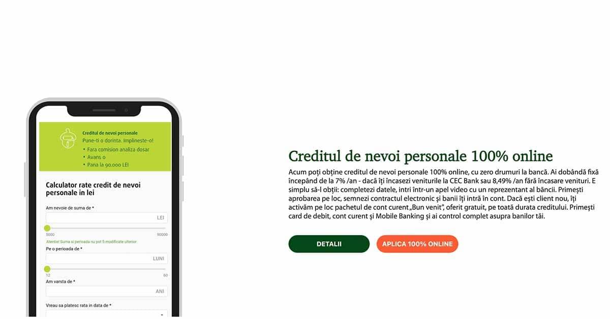 CEC Bank - creditul de nevoi personale 100% online