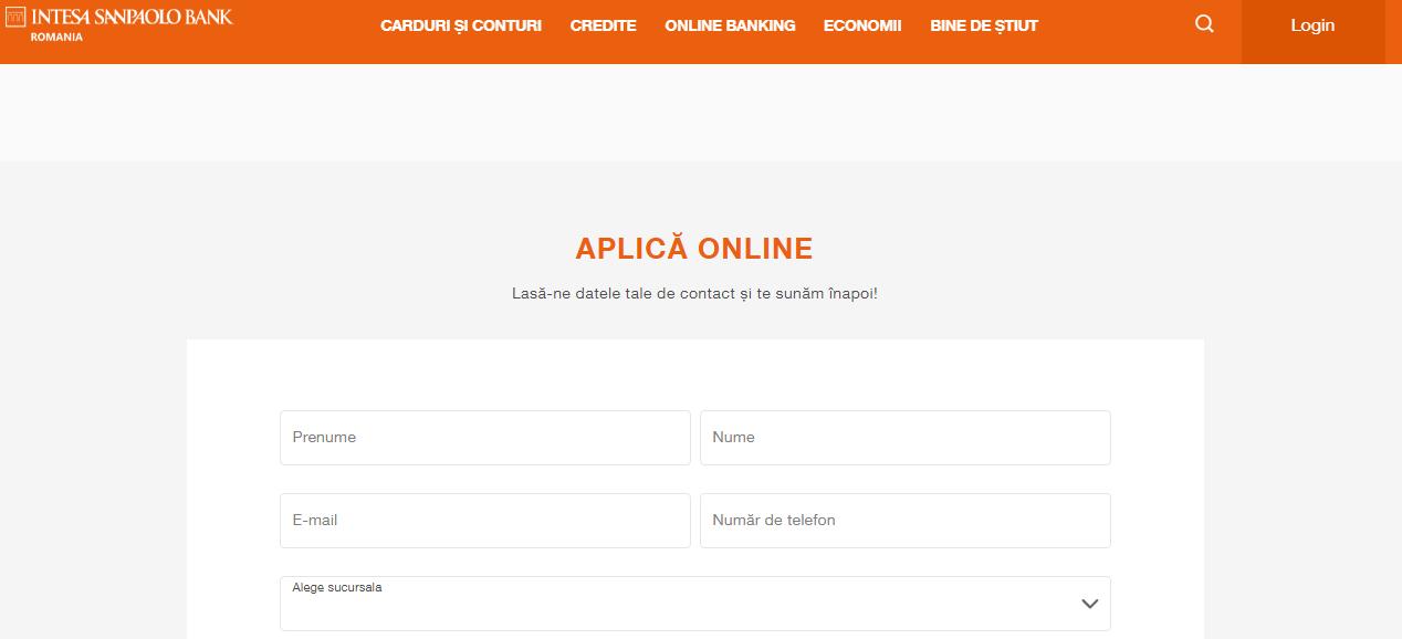 Intesa Sanpaolo - formular accesare credit de nevoi personale